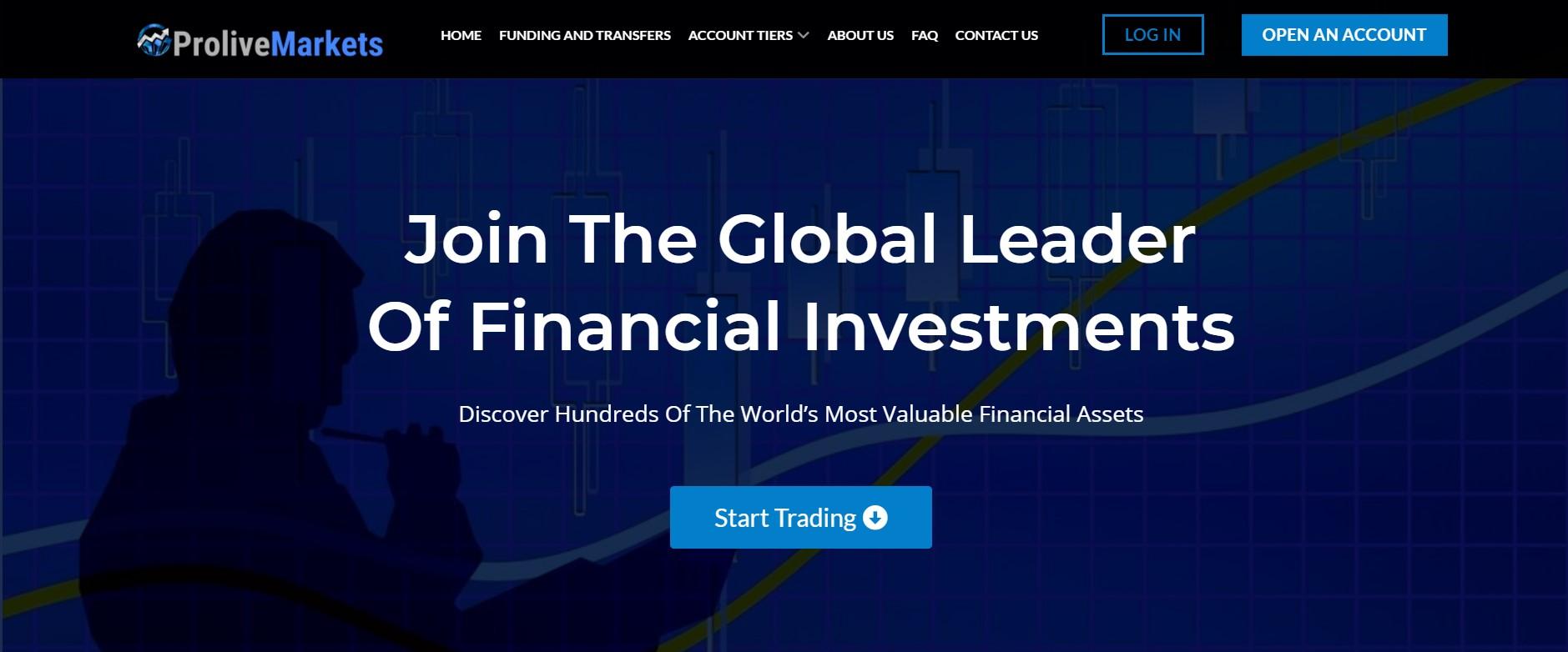 Prolive Markets website