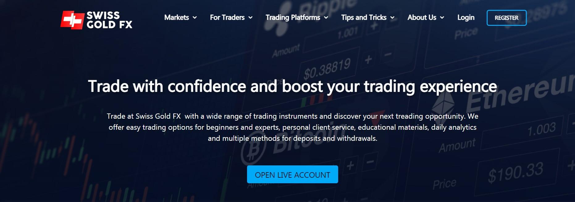 SwissGold FX website
